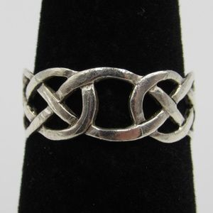 Size 6.5 Sterling Silver Rustic Celtic Knot Band